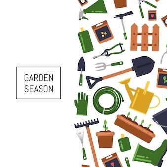 Fondo de iconos de jardinería plana