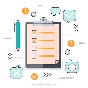 Fondo de iconos y lista de elementos en diseño plano