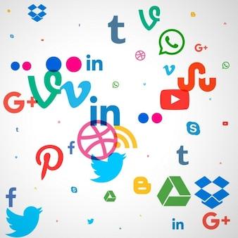 Fondo de iconos de redes sociales de colores en estilo moderno