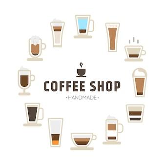 Fondo con los iconos de la taza de café