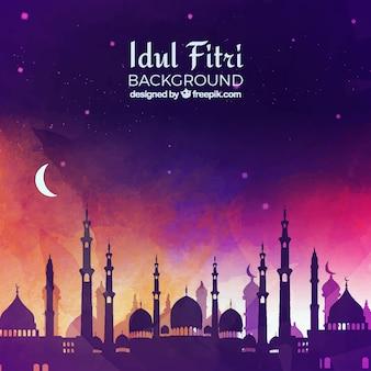 Fondo de idul fitri con mezquita