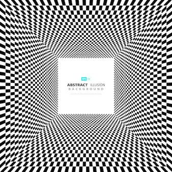 Fondo de ilusión blanco y negro cuadrado mínimo abstracto