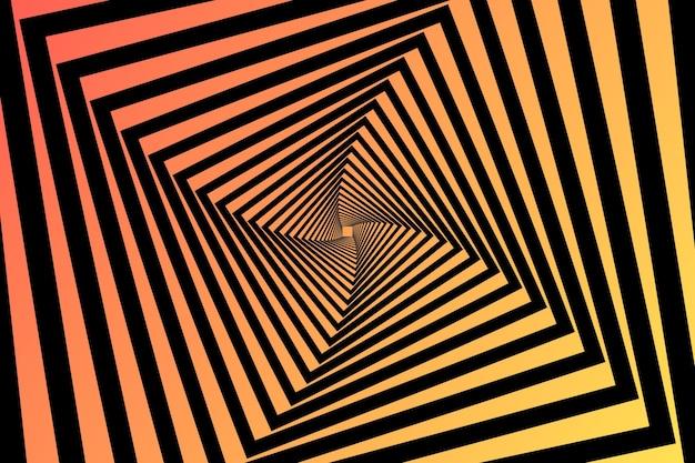 Fondo de ilusión óptica psicodélica remolinos cuadrados