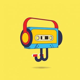 Fondo de ilustración de cassette