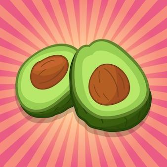 Fondo de ilustración de comida de fruta de aguacate