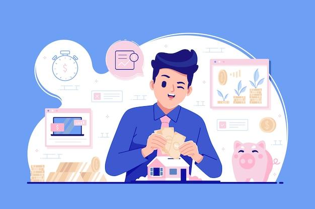 Fondo de ilustración de concepto de acciones de inversión
