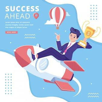 Fondo de ilustración de concepto de éxito