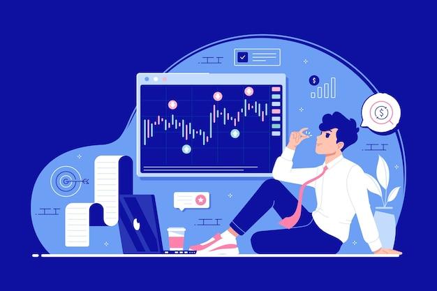 Fondo de ilustración de concepto de inversión financiera