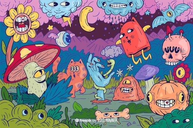 Fondo de ilustración de criaturas coloridas y espeluznantes