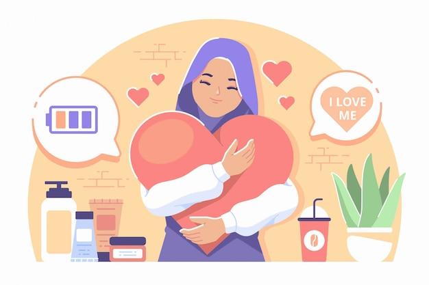 Fondo de ilustración de cuidado personal de niña islámica