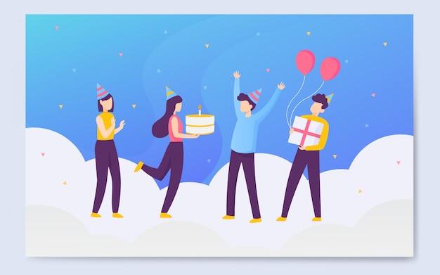 Fondo de ilustración de cumpleaños colorido moderno