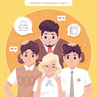 Fondo de ilustración del día mundial del maestro