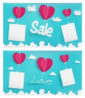 Fondo de ilustración del día de san valentín de plantilla de temporada de venta con cielo azul