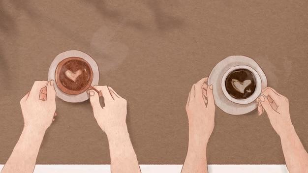 Fondo de ilustración de dibujado a mano de vector de san valentín de fecha de café