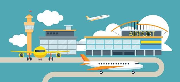 Fondo de ilustración de diseño plano de avión y aeropuerto