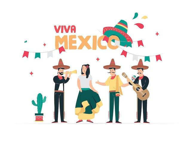 Fondo de ilustración de feliz día de la independencia de méxico con texto de cita
