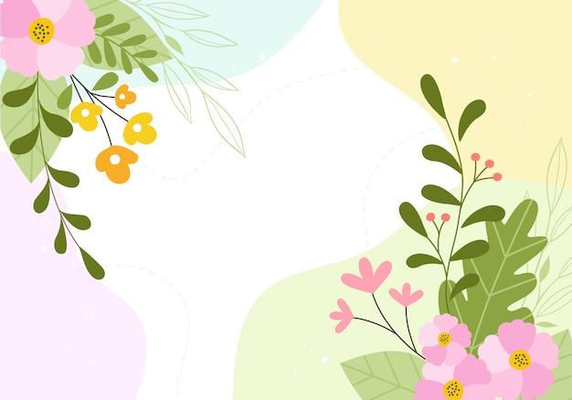 Fondo de ilustración floral de flor botánica de primavera dibujada a mano