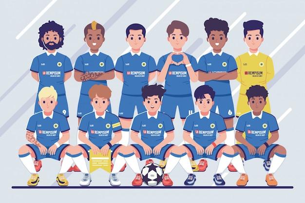 Fondo de ilustración de foto de equipo de fútbol previo al partido