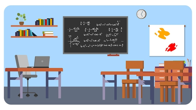 Fondo de ilustración interior de aula de escuela