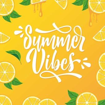 Fondo de ilustración de letras de vibraciones de verano dibujadas a mano