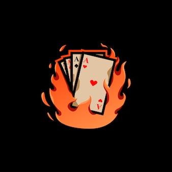 Fondo de ilustración de llama de tarjeta de fuego de tarjeta de fuego