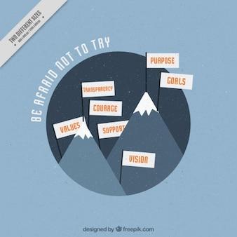 Fondo de ilustración de montañas con frase inspiradora sobre las metas