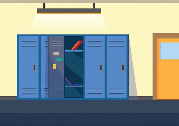 Fondo de ilustración plana de vestuario escolar