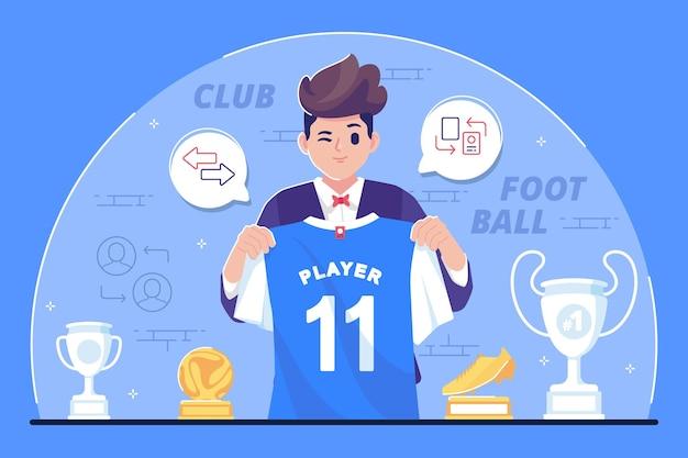 Fondo de ilustración de transferencia de jugador de fútbol