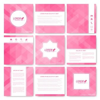 Fondo con ilustración de triángulos rosa