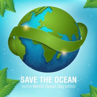 Fondo de la ilustración de vector de día del océano