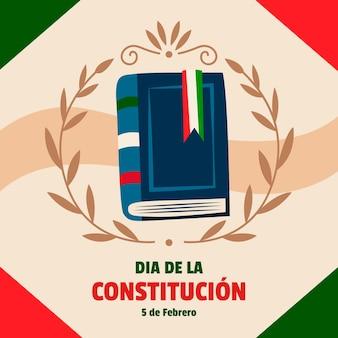 Fondo ilustrado del día de la constitución de méxico con libro