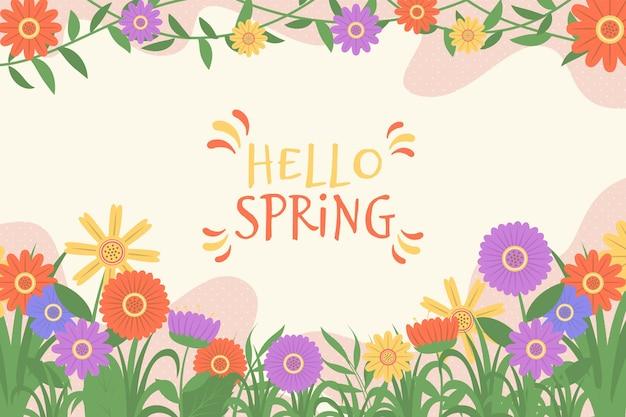 Fondo ilustrado de primavera floral