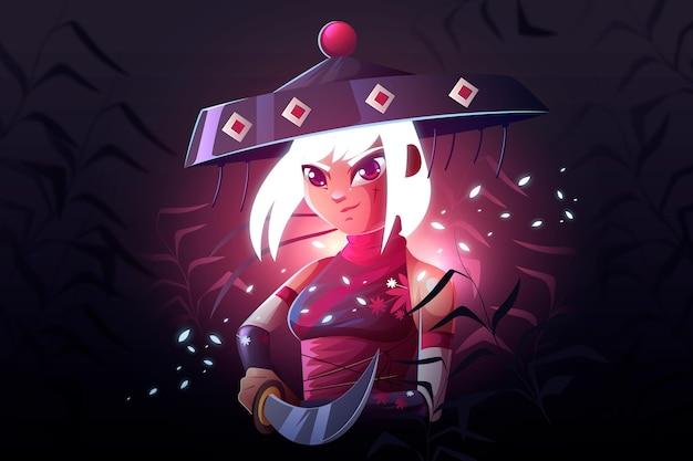 Fondo ilustrado samurai realista