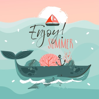 Fondo de impresión de plantilla de arte de ilustraciones gráficas de horario de verano de dibujos animados abstractos dibujados a mano con ballena de belleza en las olas del océano, vela, escena de puesta de sol sobre fondo azul