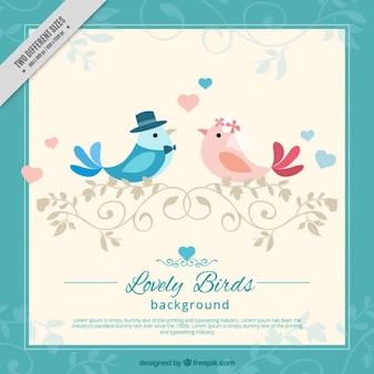 Fondo impresionante con pájaros enamorados y marco azul