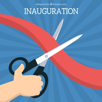 Fondo de inauguración de cinta roja con tijeras negras