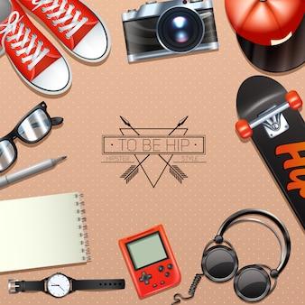 Fondo inconformista con símbolos de moda y accesorios modernos
