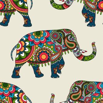Fondo inconsútil coloreado elefante indio étnico