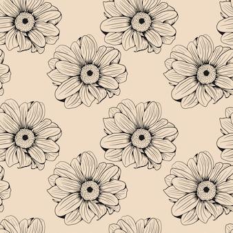Fondo inconsútil dibujado mano del bosquejo de la flor