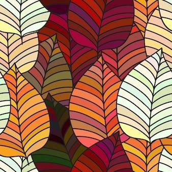 Fondo inconsútil con las hojas de otoño coloridas.