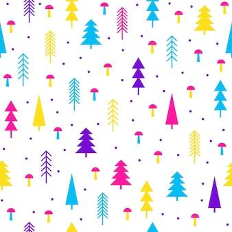 Fondo inconsútil del modelo del bosque de abetos abstracto. muestra moderna para tarjeta de año nuevo, invitación a fiesta de navidad, papel tapiz de cumpleaños, papel de regalo navideño, estampado de tela, camiseta, publicidad de taller