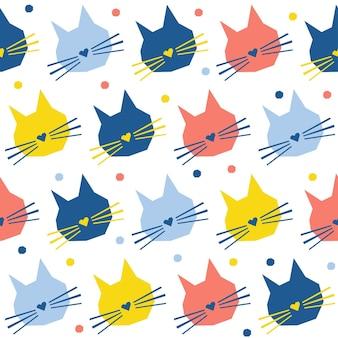 Fondo inconsútil del modelo de la cabeza del gato hecho a mano abstracto. papel tapiz infantil de gato hecho a mano para tarjetas de diseño, pañales para bebés, menú de invierno, papel de regalo navideño, estampado de bolsos, camisetas, etc.