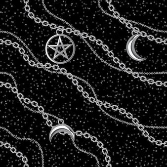 Fondo inconsútil del modelo con los colgantes del pentagram y de la luna en la cadena de plata metálica. en negro