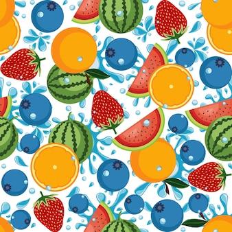 Fondo inconsútil del papel pintado de la fruta fresca tropical del verano del modelo Vector Premium