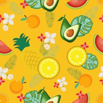 Fondo inconsútil del papel pintado de la fruta fresca tropical del verano del modelo