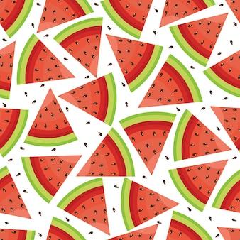Fondo inconsútil del papel pintado de la fruta de la sandía fresca del modelo Vector Premium