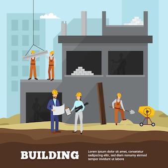 Fondo de la industria de la construcción con casas equipo ciudad y trabajadores ilustración plana