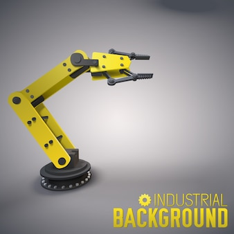 Fondo industrial con brazo robótico 3d