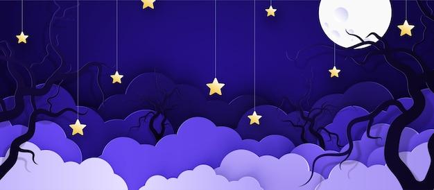 Fondo infantil de dibujos animados con nubes y estrellas en cuerdas.