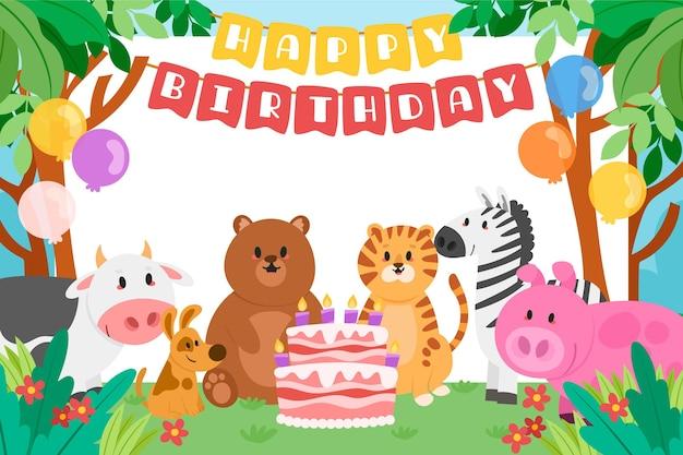 Fondo infantil feliz cumpleaños con animales.